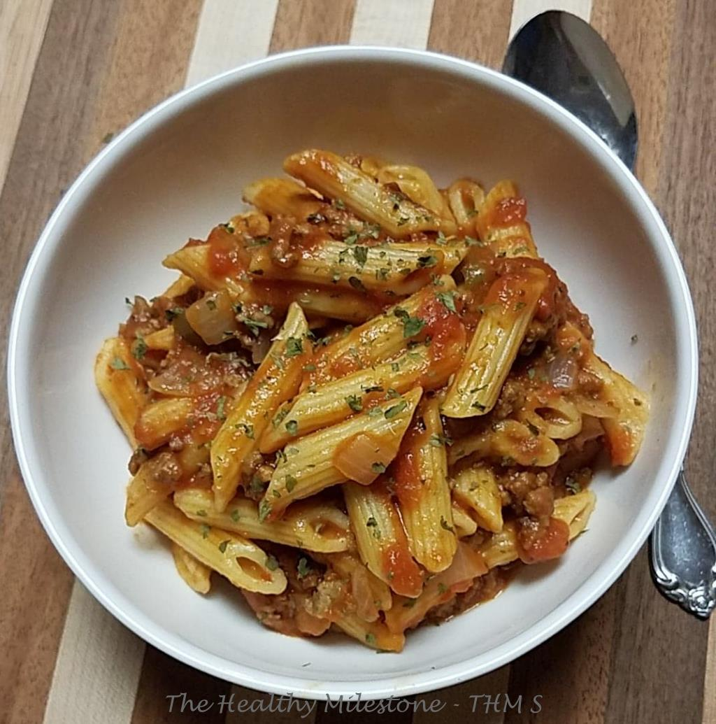 Beefy Tomato Penne Pasta-THM S